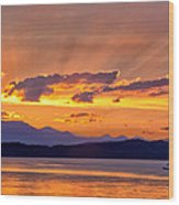 Ferry Crossing Sunset Wood Print