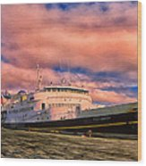 Ferry Dockside At Cold Bay Wood Print