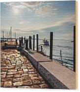 Ferry Leaves Long Wharf Wood Print