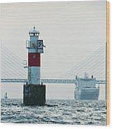 Ferry On Sea, Oresund Bridge In Wood Print