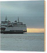 Ferry Sealth In The Fog Wood Print