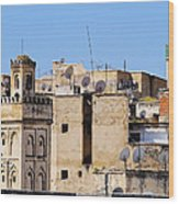 Fes Cityscape In Morocco Wood Print