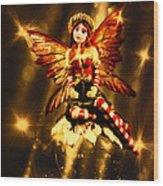 Festive Amber Fairy Wood Print