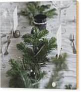 Festive Xmas Table Wood Print