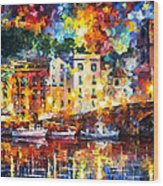 Few Boats - Palette Knife Oil Painting On Canvas By Leonid Afremov Wood Print