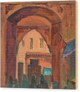Fez Town Scene Wood Print