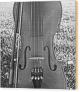 Fiddle And Bow Bw Wood Print