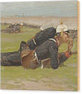 Field Drill For The Prussian Infantry  Wood Print