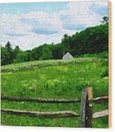 Field Near Weathered Barn Wood Print
