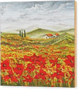 Field Of Dreams - Poppy Field Paintings Wood Print