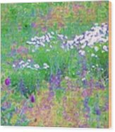 Field Of Flowers In Nature Wood Print