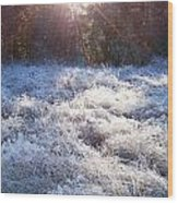 Field Of Frost Wood Print