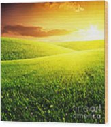 Field Of Grass And Sunset Wood Print by Boon Mee