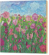 Field Of Pink For The Ladies Wood Print