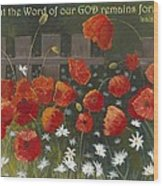 Field Of Poppies With Scripture Wood Print