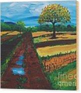 Field Road Wood Print