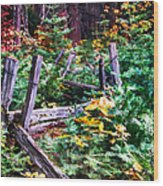 Fields And Fences Of Wawona In Yosemite National Park Wood Print