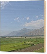 Fields Mountains Sky And A River Swat Valley Pakistan Wood Print