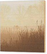 Fields Of Tall Grass In The Mist Wood Print
