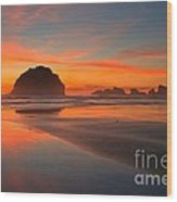Fiery Bandon Beach Wood Print by Adam Jewell