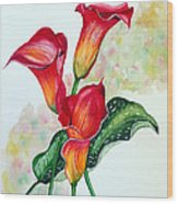 Fiery Callas Wood Print
