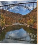 Fiery Colors At New River Gorge Bridge Wood Print