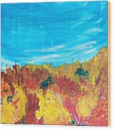 Fiery Fall In The Hills Wood Print