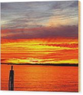 Fiery Fall Sunset Wood Print by Stephen Melcher