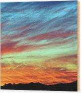 Fiery July Sunset Wood Print