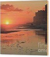 Fiery Seashore Wood Print