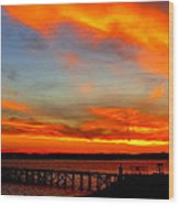 Fiery Skies And Silhouetted Pier Wood Print by Stephen Melcher