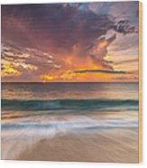 Fiery Skies Azure Waters Rendezvous Wood Print