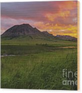 Fiery Sky Over Bear Butte Wood Print