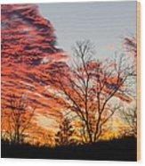 Fiery Sundown Wood Print