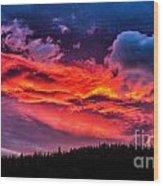 Fiery Sunrise At Glacier National Park Wood Print