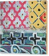 Fiesta 6- Colorful Pattern Painting Wood Print by Linda Woods
