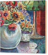 Fiesta Blooms Wood Print by Ann  Nicholson