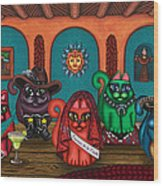 Fiesta Cats II Wood Print