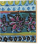 Fiesta In Blues- Abstract Pattern Painting Wood Print