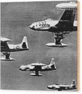 Fighter Jet Against Communists Wood Print