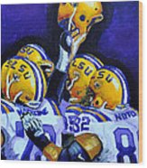 Fighting Tigers Of Lsu Wood Print by Terry J Marks Sr