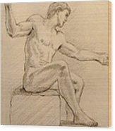 Figure On A Rock Wood Print