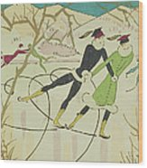 Figure Skating  Christmas Card Wood Print by American School