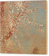 Figure Under A Blossoming Tree Wood Print