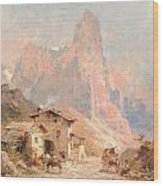 Figures In A Village In The Dolomites Wood Print