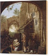 Figures In The Courtyard Of An Old Building Wood Print