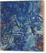 Figures On A Bridge Oil On Canvas Wood Print