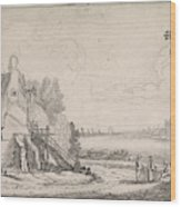 Figures On A Path Along A Dilapidated House On A River Wood Print