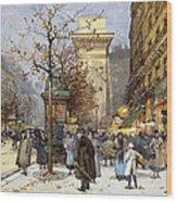Figures On Le Boulevard St. Denis At Twilight Wood Print