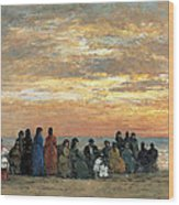 Figures On The Beach In Trouville Wood Print